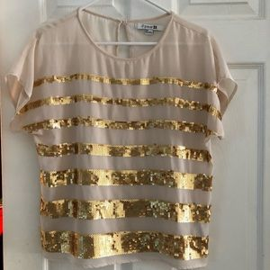 Forever 21 ivory top with gold sequins size small